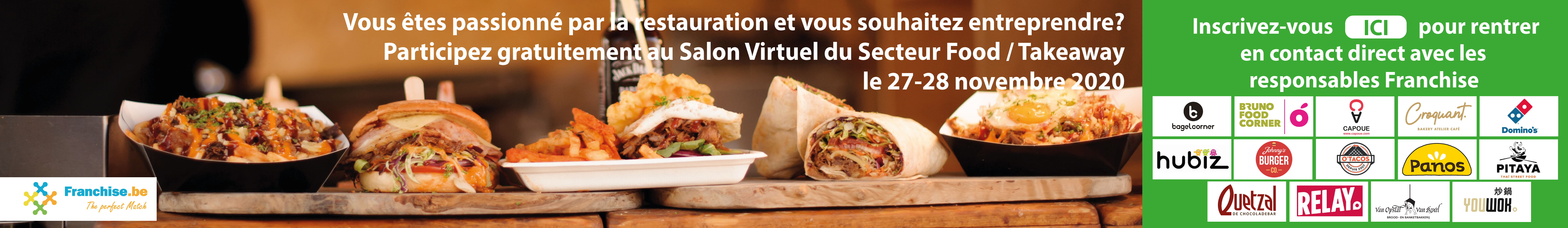Participez gratuitement au Salon Virtuel de la Franchise Food & Take Away les 27 et 28 novembre 2020.